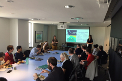 """attendees at the Lighting Lunch for 20 September 2019, on the topic of """"Composition and Computation,"""" featuring speakers Chris Salter (Concordia U), Doug Van Nort (York) and Isabel Pedersen (Ontario Tech University.)"""