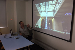 """Chris Salter, Concordia, speaking at the Lighting Lunch for 20 September 2019, on the topic of """"Composition and Computation,"""" featuring speakers Chris Salter (Concordia U), Doug Van Nort (York) and Isabel Pedersen (Ontario Tech University.)"""