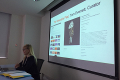 """Isabel Pederson speaking at the Lighting Lunch for 20 September 2019, on the topic of """"Composition and Computation,"""" featuring speakers Chris Salter (Concordia U), Doug Van Nort (York) and Isabel Pedersen (Ontario Tech University.)"""